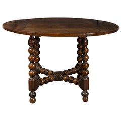 French 1880s Louis XIII Style Walnut Table with Bobbin Legs and Cross Stretcher