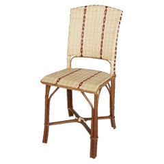 French 1900s Design Bistro Rattan Wicker and Braided Resin Outdoor Chair