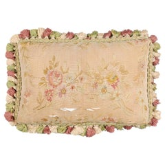 French 19th Century Aubusson Horizontal Floral Tapestry Pillow with Tassels