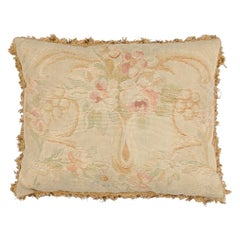French 19th Century Aubusson Tapestry Pillow with Bouquet of Flowers and Tassels