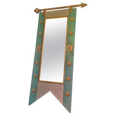 French 19th Century Decorative Mirror with Original Painted Frame and New Glass