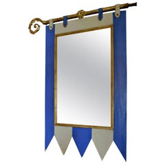 French 19th Century Decorative Painted Wood Framed Mirror with New Mirror Glass
