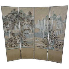French 4-Leaf Grey and Beige Screen Hand Painted in Grisaille and Leather, 1940s