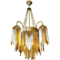 French Art Deco and Art Nouveau Amber Straw Fringe and Beaded Glass Chandelier