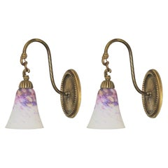 French Art Deco Brass Wall Sconces with Pâte de Verre Glass Shades, 1930s