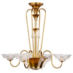 """French Art Deco """"Icicle"""" Glass Chandelier by Ezan, 1930s"""