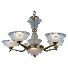 French Art Deco Opalescent Glass Chandelier by Ezan