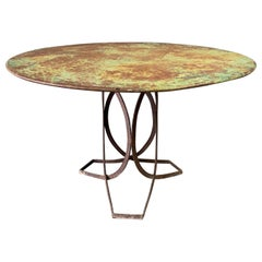 French Art Deco Round Iron Garden Table with Abstract Base