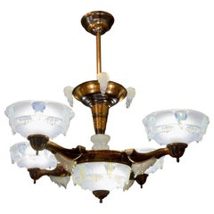 French Art Deco Seven-Light Copper and Opalescent Glass Chandelier by Ezan, 1930