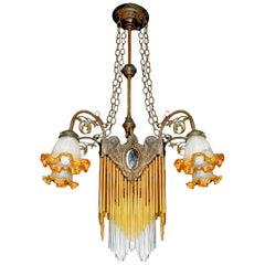 French Art Nouveau, Art Deco Amber Glass Straws Fringe Bronze & Brass Chandelier