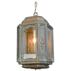French Art Nouveau Copper Lantern, circa 1900