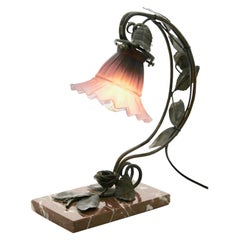 French Art Nouveau Lamp in Wrought Iron on a Marble Base