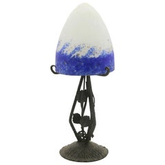 French Art Nouveau Lamp in Wrought Iron with Colored Glass Shades Signed