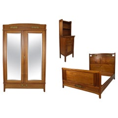 French Art Nouveau Mahogany Clematis Bedroom Set by Mathieu Gallerey, circa 1920