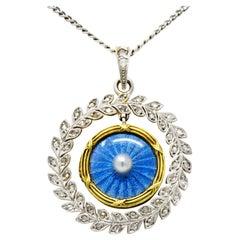 French Belle Époque Edwardian Diamond Enamel Platinum 18 Karat Gold Necklace