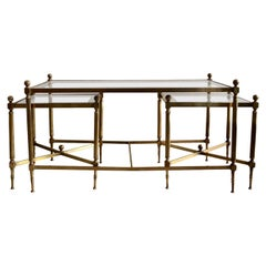 French Brass Three-Piece Coffee Table Jansen Style