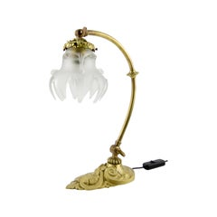 French Bronze Table or Wall Lamp with Frosted Glass Shade, 1930s