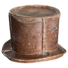 French Brown Hat Box for Cylinders, Early 19th Century