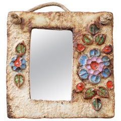 French Ceramic Wall Mirror with Flower Motif by La Roue 'circa 1960s', Small