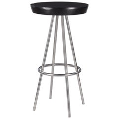 """French Chrome Base Round """"Mange Debout"""" Tall Bistro Table, 1970s"""