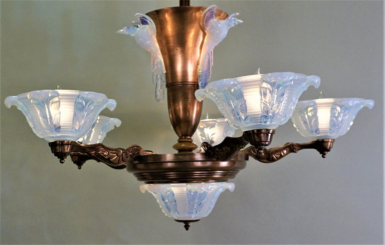 1930s feather design opaline glass shade and copper plate chandelier.