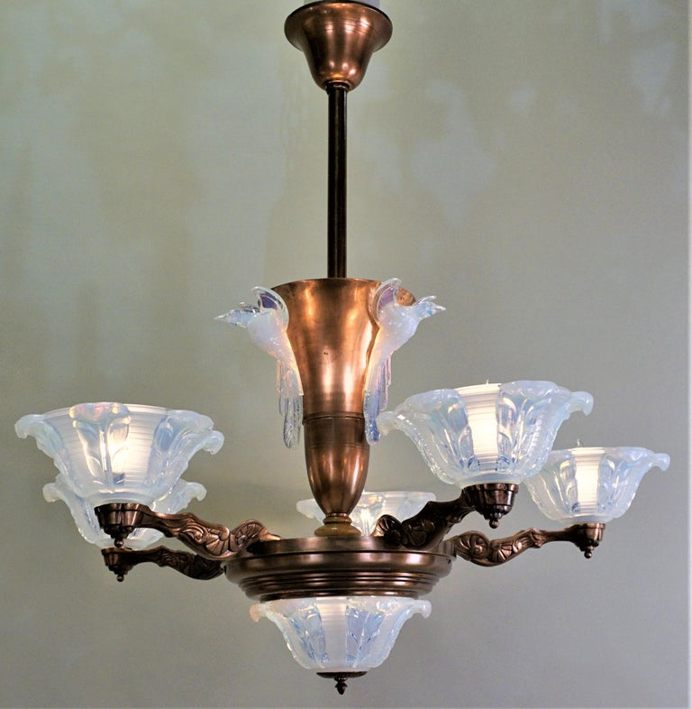 French Copper and Opalescent Glass Art Deco Chandelier by Ezan For Sale 4