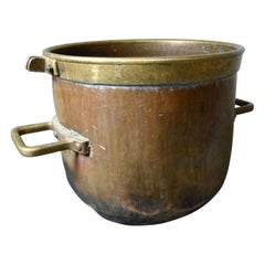French Copper Pot/Cauldron with Brass Accents, circa 1880