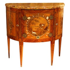 French Demilune Marquetry Chest of Drawers Stamped Tondeur, Louis XVI Period