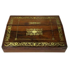French English Rosewood Brass Inlaid Boulle Writing Slope Box Desk, 19th Century