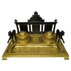 French Gilt Bronze Ormolu Large Double Inkstand Desk Set Lions, 19th Century