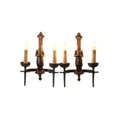 French Gothic Revival Bronzed Knights with Swords Wall Lights or Sconses