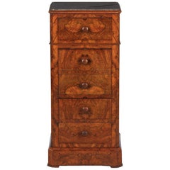 French Louis Philippe Burl Walnut Cabinet Nightstand with Marble Top, Mid-1800s