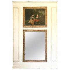 French Louis XV Style Painted and Gilt Trumeau Mirror