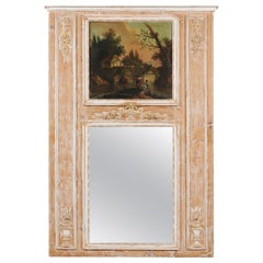 French Louis XVI 1790s Trumeau Mirror with Original Painting and Gilt Details