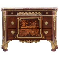 French Louis XVI Inlaid Marquetry Commode