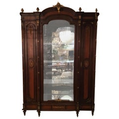 French Louis XVI Style Vitrine/Display Cabinet, 19th C, Marquetry Inlay, 3-Door
