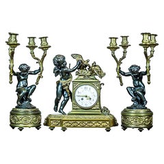 French Mantel Clock Set, Circa 19th Century