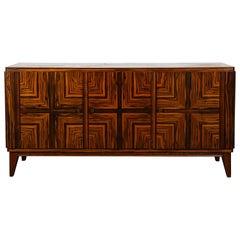 French Midcentury Zebra Wood Buffet Sideboard, 1950s