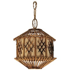 French Modernist Rattan Pendant Lantern / Hanging Light with Chinoiserie Accents