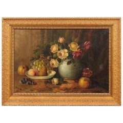 French Napoleon III 1860s Still-Life Oil Painting Depicting Roses and Fruits