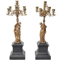 French Neoclassical Style Figural Ormolu Candelabras after Mathurin Moreau