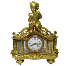 French Ormolu Bronze Sèvres Porcelain Mantle Clock Vincenti et Cie, Paris