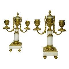 French Ormolu Marble Twin Arm Garniture Candelabra Casolettes 19th Century, Pair