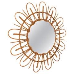 French Riviera Midcentury Rattan Flower Shaped Sunburst Mirror