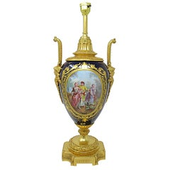 French Sevres Porcelain Watteau Scene Ormolu Mounted Table Lamp 19th Century