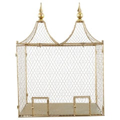 French Style Gilt Metal and Wire Bird Cage