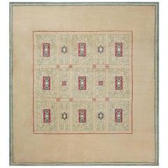 French Vintage Paule Leleu Warm Beige, Burgundy & Green Hand-knotted Wool Rug