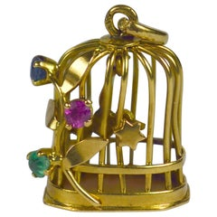 French Yellow Gold Gem Set Bird Cage Stars Charm Pendant