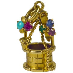 French Yellow Gold Gem Set Wishing Well Charm Pendant