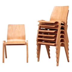 Fritz Hansen Style Square Backed Stacking Chairs
